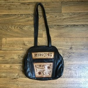 Handbags - Tooled Leather Bag Flora Made in Mexico Dark Brown